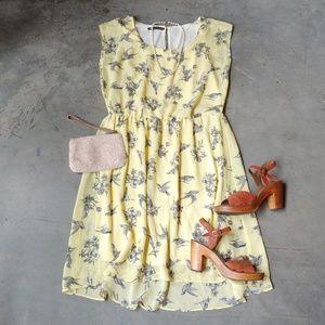 Maurices High-Low Bird Print Chiffon Dress large